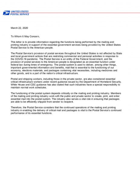 USPS Statement on Direct Mail